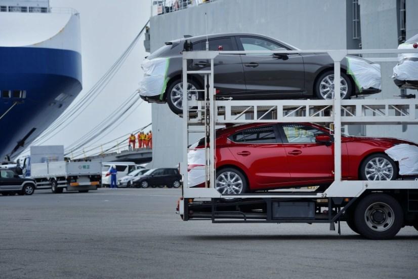 New Mazda 3's at the Port of Yokohama