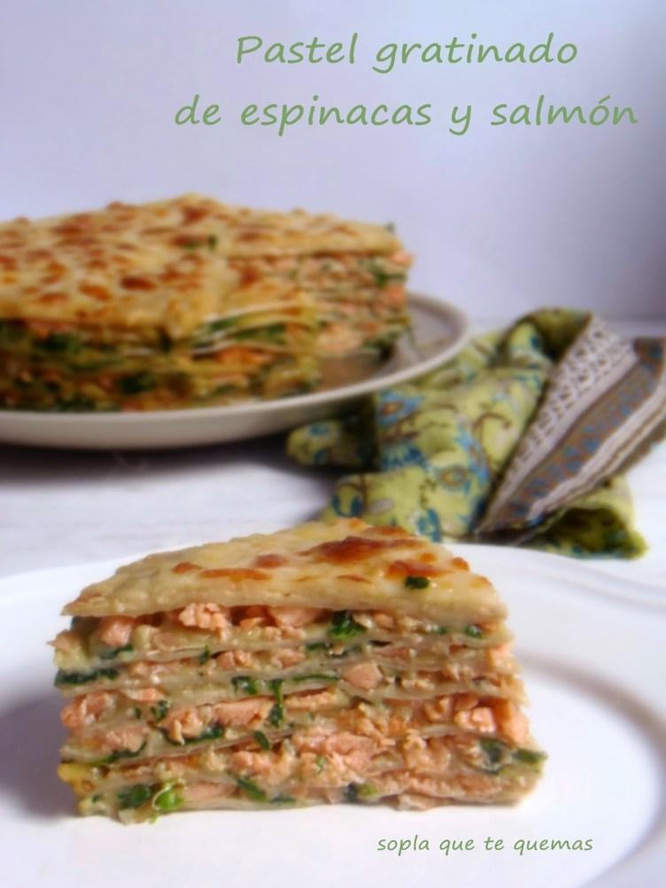 Pastel gratinado de espinacas y salmón