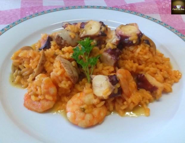 arroz pulpo almejas gambas - facil con bela