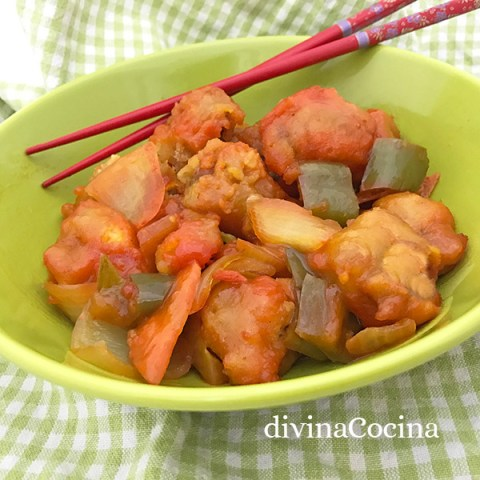 cerdo agridulce estilo chino - divina cocina