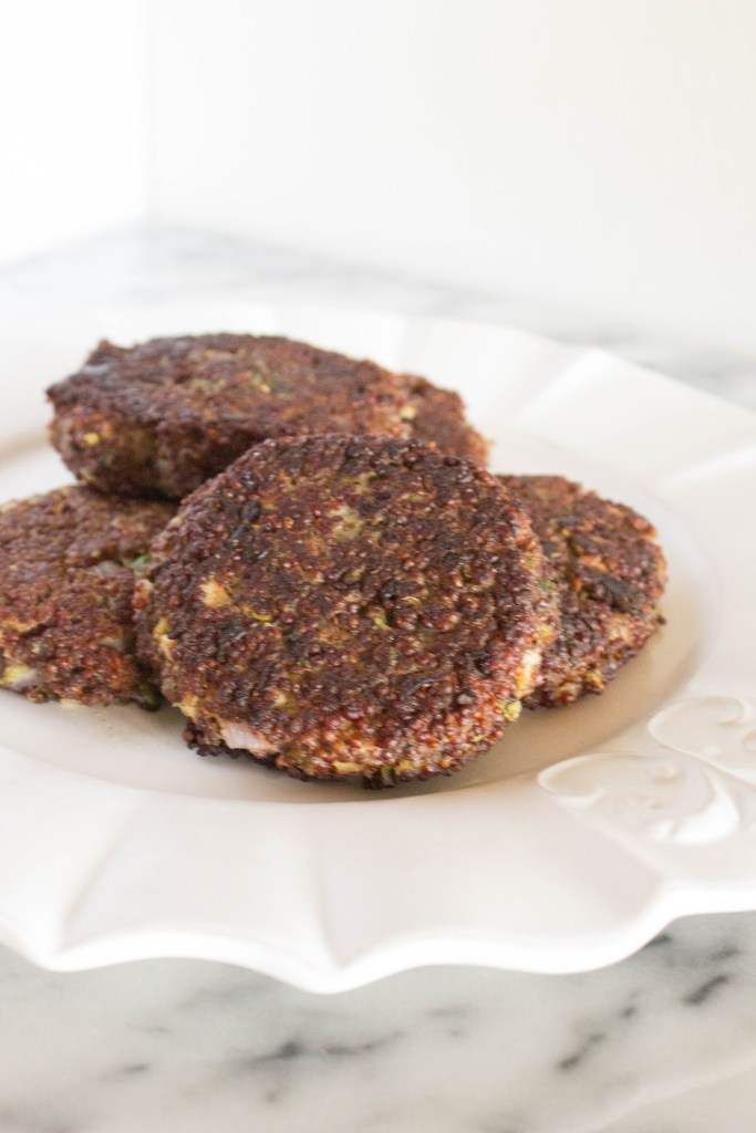 Quinoa patties made with goat cheese and green onions. Serve over salad with tzatziki sauce.