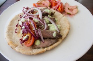Gyro sandwich recipe with fresh tzatziki yogurt sauce