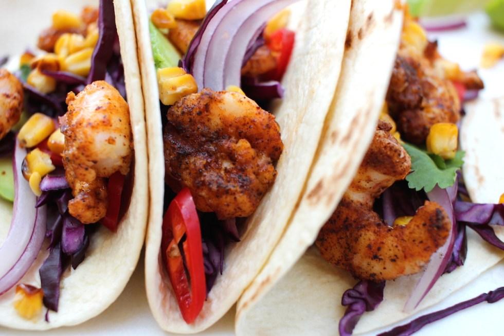 Ancho prawn tacos