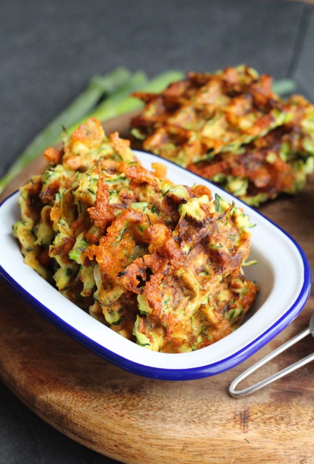 Cheesy courgette waffles