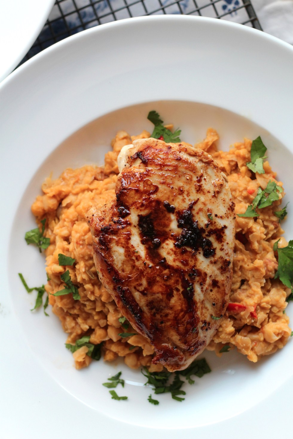 This chicken with chorizo and chickpea mash is a ridiculously easy midweek meal. Yum!