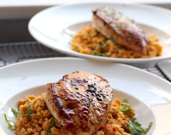 Pan fried chicken breast with chickpea and chorizo mash