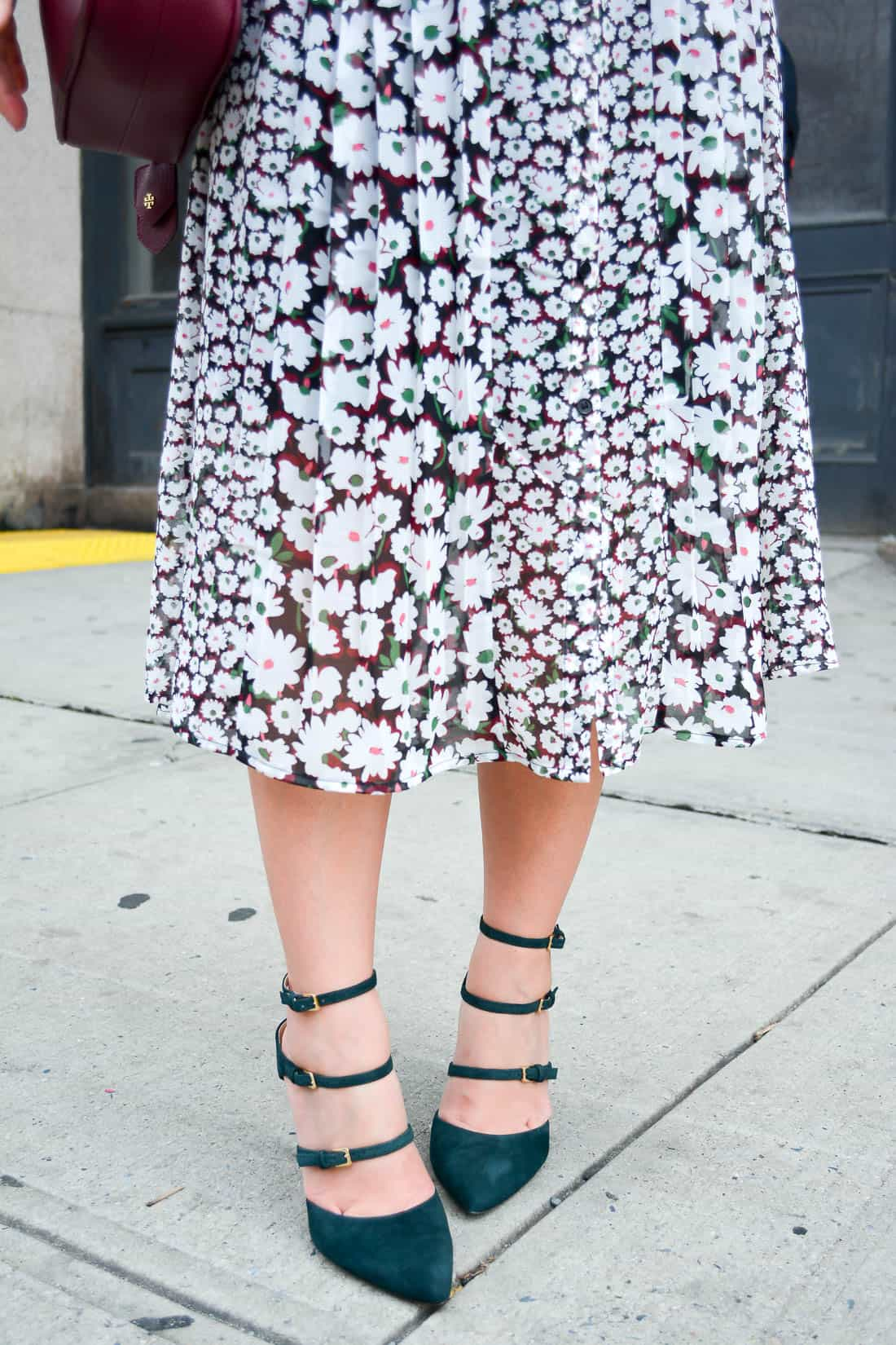 New York Fashion Week, NYFW, French Connection Floral Dress, Club Monaco Ankle Strap Heels, Fall Style, Chicago Blogger