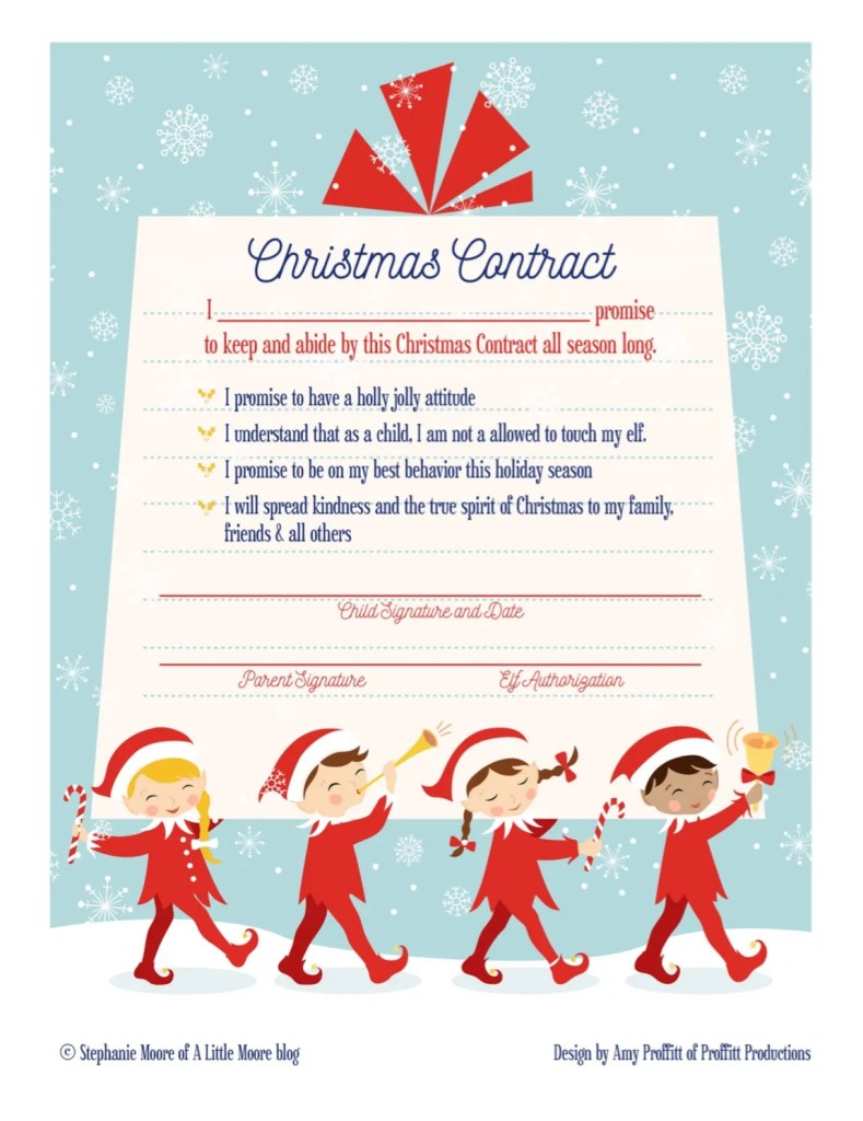 Elf on the Shelf Arrival Christmas Contract