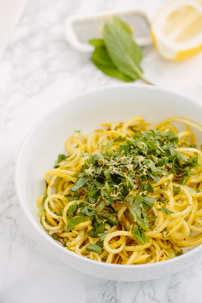Spiraled Yellow Squash with Basil and Mint
