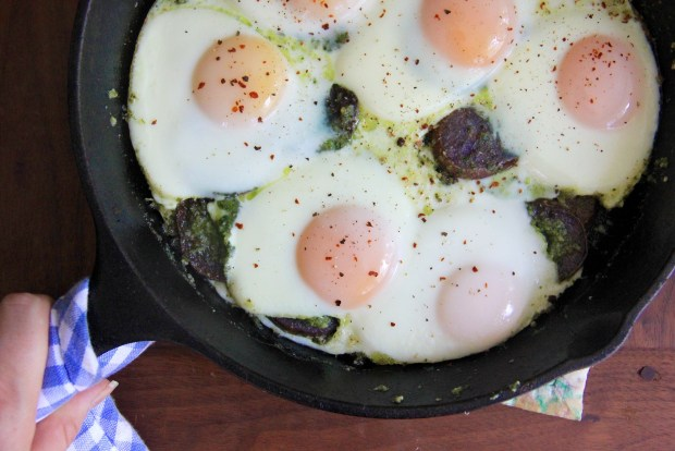 Potatoes & Eggs with Mint Basil Pesto