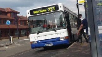"Meridan Bus Dart on service 321 at Newport Pagnell.  Photo copyright of ""lucas.d410"" on Flickr"