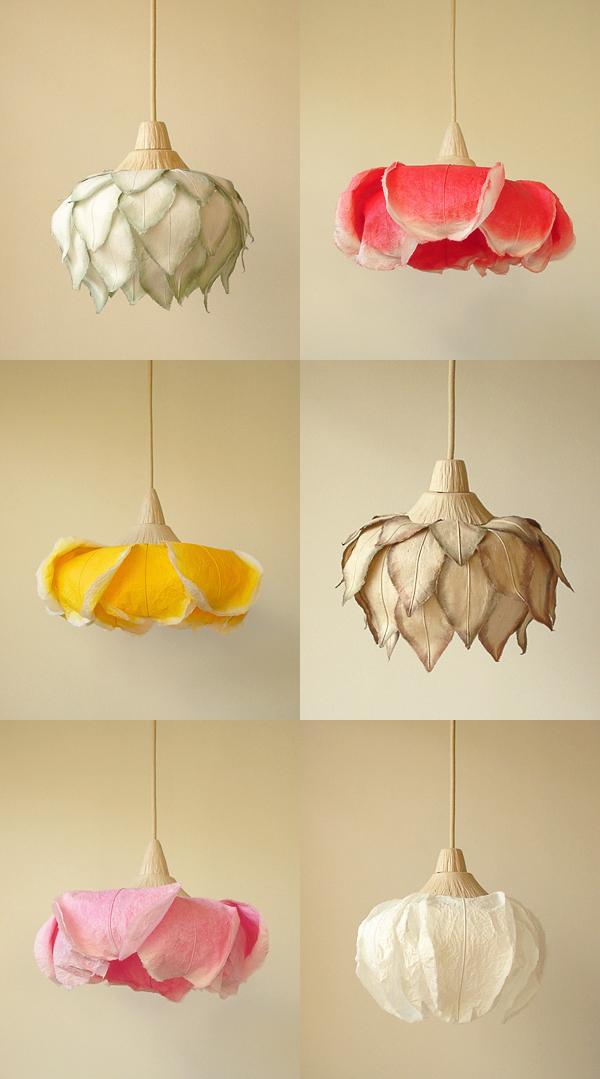 Beautiful paper lamps by sachie muramatsu all about - Lamparas de tela para techo ...