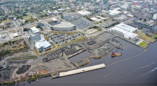 Port City Marina - The basin will be an integral part of the downtown Wilmington waterfront. Photo by Aerophoto