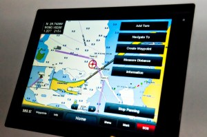Garmin's New 8000 series chartplotter on display at the Miami Boat Show