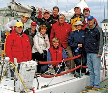Sailing legend Gary Jobson (far right) has served as the national chairman of the Leukemia Cup Regatta series since 1993. He hosts the annual Fantasy Sail With Gary Jobson for Leukemia Cup Regatta participants who raise $10,000 or more at any Leukemia Cup event throughout the year. The 2010 Fantasy Sail was held in Charleston, S.C. Bill Hanckel (center, red shirt), owner of Emocean, was among the Charleston area boat owners who provided their boats for use at the Fantasy Sail.