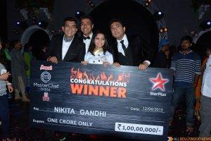 Nikita Gandhi winner of MasterChef India-4 with Chef Ranveer Brar, Chef Vikas Khanna and Chef Sanjeev Kapoor