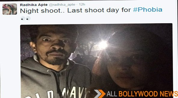 Its a wrap for Radhika Apte's Phobia