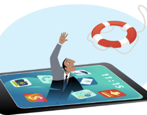 Man drowning in a smartphone screen