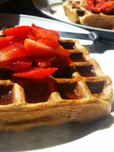 Buttermilk cinnamon waffles with maple syrup and strawberries