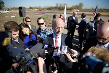 This week, Governor Tom Wolf, shown here at a press conference in November 2015, announced new measures to reduce methane leaks from the gas industry. It's part of a larger climate change plan expected later this year. Photo: AP / Matt Rourke