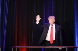 President-elect Donald Trump arrives at an election night rally Wednesday, Nov. 9, 2016, in New York. (AP Photo/John Locher)