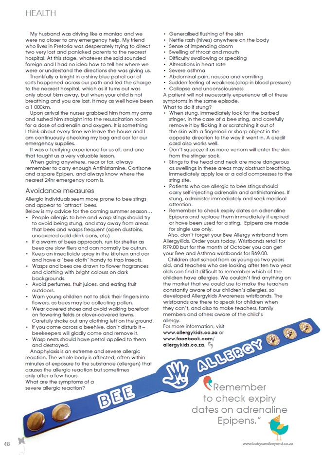Bee Allergy Article Baby and Beyond Page 2
