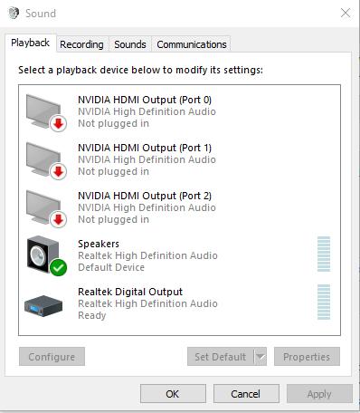 List of Windows 10 Audio Devices