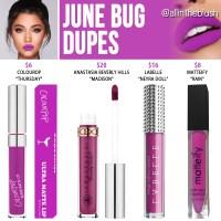 Kylie Cosmetics June Bug Velvet Liquid Lipstick Dupes