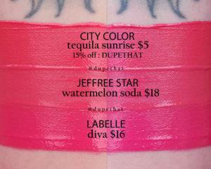 Jeffree Star Watermelon Soda Velour Liquid Lipstick Dupes