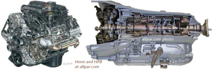 Hemi engine with ZF HP8 8-speed transmission