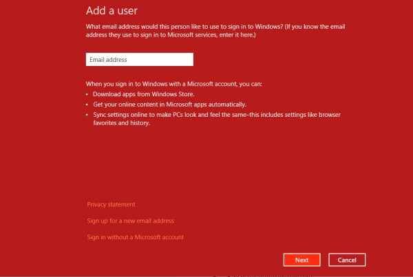 Add user in Windows 8 - step 2 - all that nerdy stuff
