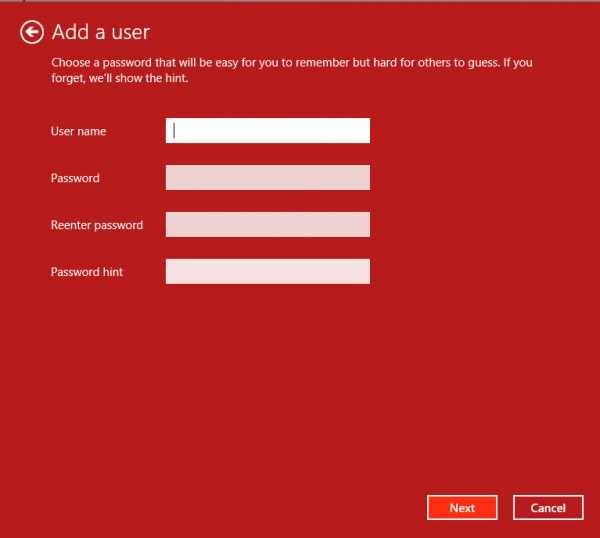 Add user in Windows 8 - step 4 - all that nerdy stuff