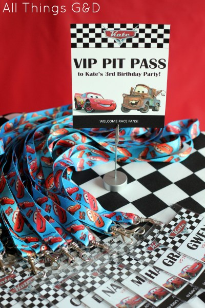 Cars Party VIP Pit Passes