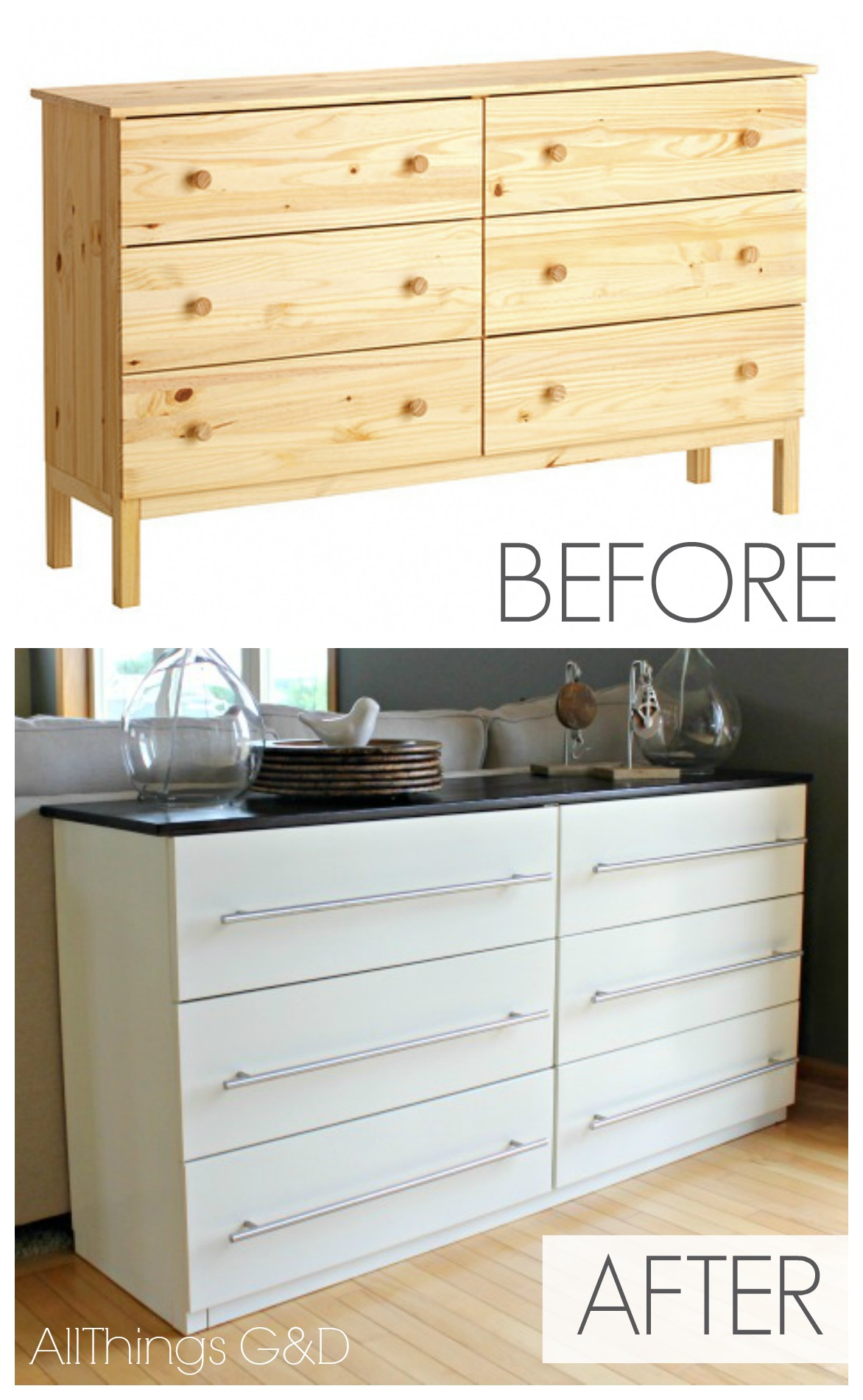 Ikea tarva transformed into a kitchen sideboard all for Transform ikea furniture