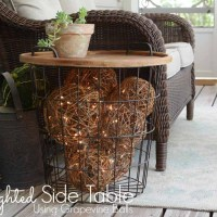 Lighted Grapevine Balls in a Side Table!
