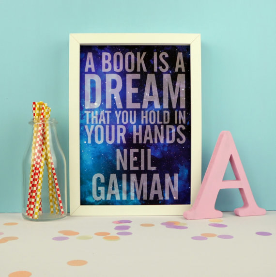 Books Are Dreams Neil Gaiman wall hanging