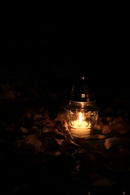 Candle in Cemetery, Slovakia