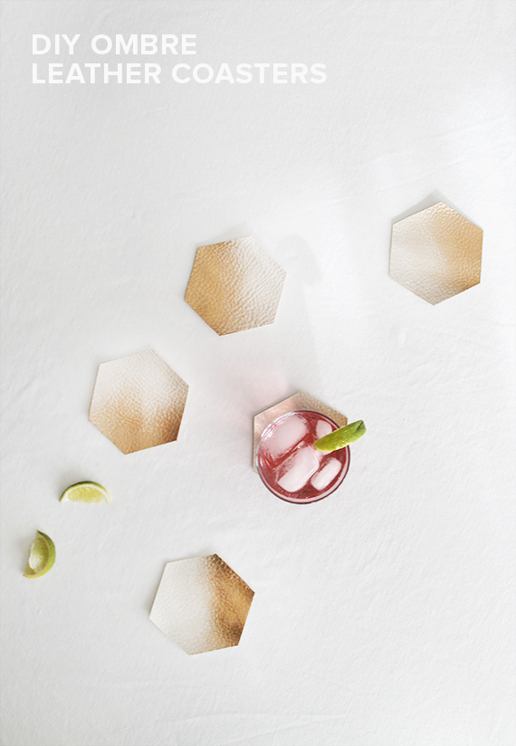 diy ombre leather coasters