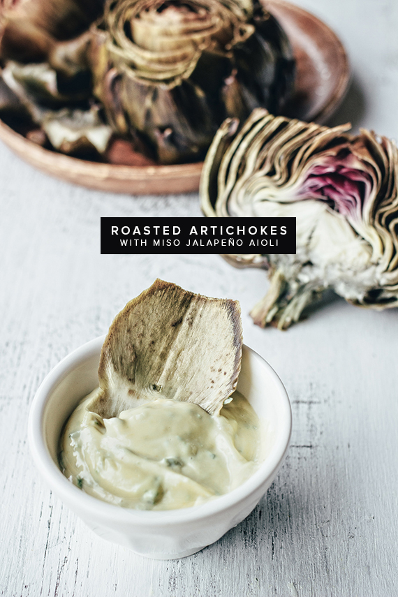 roasted artichokes with miso jalapeno aioli   almost makes perfect