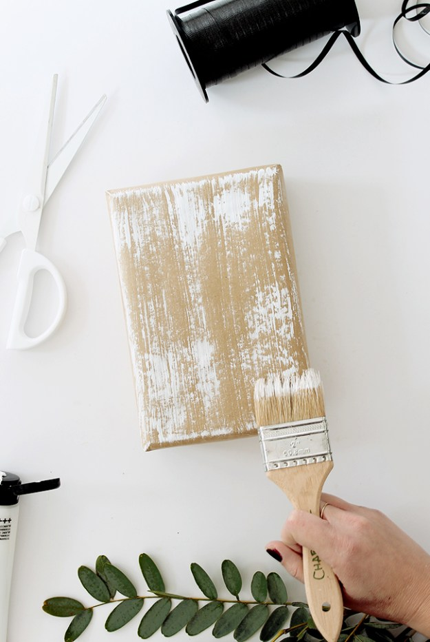 diy dry brush gift wrap | almost makes perfect