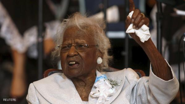 Jeralean Talley,  the world's oldest-known living person, addresses the congregation during a church service and her 116th birthday celebration in Inkster, Michigan in this May 24, 2015 file photo. Jeralean Talley, the world's oldest-known person, has died in Michigan 26 days after her 116th birthday, a family spokeswoman said on June 18, 2015.     REUTERS/Rebecca Cook/Files