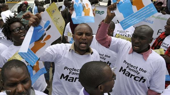 Kenyans, some of whom are members of a Christian lobby group, hold a protest against homosexuality in the capital Nairobi, on July 6, 2015, signalling to US President Barack Obama their opposition to gay rights ahead of his visit on 25 July to Kenya. AFP PHOTO/SIMON MAINA        (Photo credit should read SIMON MAINA/AFP/Getty Images)