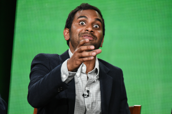 """Aziz Ansari speaks on stage during the """"Parks and Recreation"""" panel at the NBC 2015 Winter TCA on Friday, Jan. 16, 2015, in Pasadena, Calif. (Photo by Richard Shotwell/Invision/AP)"""