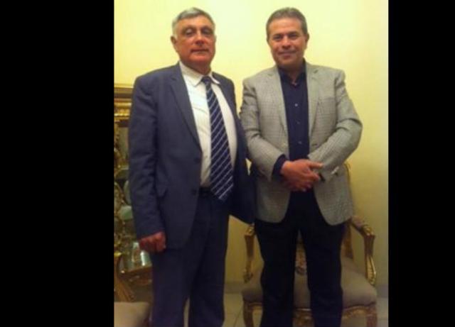 توفيق عكاشة مع السفير الاسرائيلي بمصر