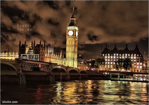 روعة وجمال لندن بالليل وساعة Big Ben