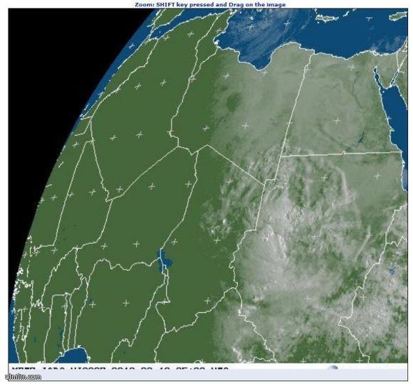 صور عبر الاقمار الصناعية للسحب فوق سماء السودان 10-اغسطس -2013م
