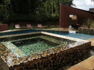 Infinity Overflow Glass Mosaic Spa Detail