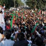 Imran Khan addresses supporters in Mianwali, Pakistan