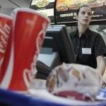 An employee of Burger King restaurant, the first one in Russia, prepares an order on the opening day of the restaurant in Moscow