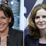 Socialist candidate Anne Hidalgo and UMP candidate for Paris mayoral poll Nathalie Kosciusko-Morizet